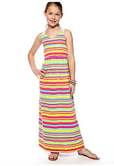 Red Camel Girls Stripe Crochet Back Maxi Dress Girls 7-16