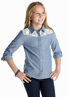 Red Camel Girls® Chambray Lace Shirt Girls 7-16