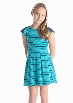 Red Camel Girls® Stripe Knit Lace Dress Girls 7-16