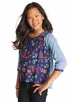 Red Camel High Low Mixed Print Woven Top Girls 7-16