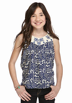 Red Camel Embroidered Tribal Printed High Low Tank Top Girls 7-16