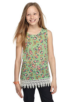 Red Camel Paisley Printed Crochet Tank Top Girls 7-16