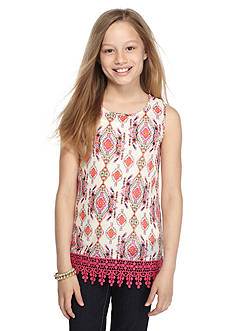 Red Camel Ikat Printed Crochet Tank Top Girls 7-16