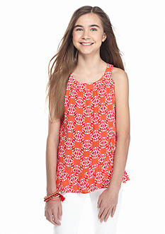 Red Camel Printed Ruffle Tank Top Girls 7-16