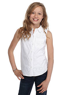 Red Camel Lace Overlay Button Front Top Girls 7-16
