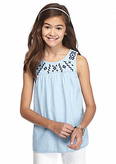 Red Camel Denim Embroidered Tank Top Girls 7-16