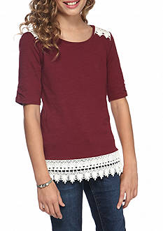 Red Camel Girls Elbow Sleeve Crotchet Top Girls 7-16