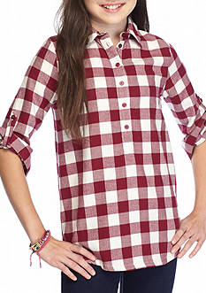 Red Camel Checkered Button Front Top Girls 7-16
