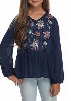 Red Camel Embroidered Peplum Challis Top Girls 7-16