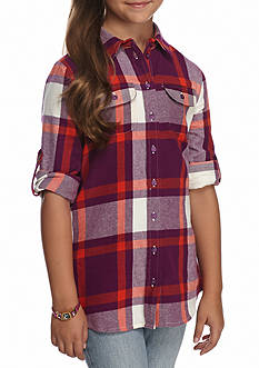 Red Camel Woven Plaid Top Girls 7-16