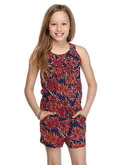 Red Camel Floral Print Romper Girls 7-16