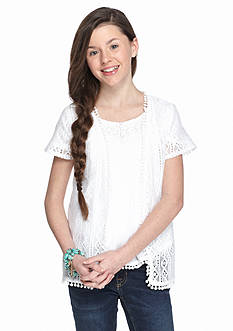 Red Camel Short Sleeve Lace Cozy Girls 7-16