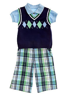 Good Lad 3-Piece Argyle Sweater Vest & Short Set Boys 4-7
