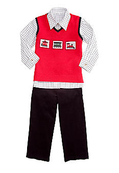 Good Lad Train Sweater Vest Set Boys 4-7