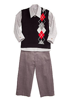 Good Lad Black Argyle Sweater Set Boys 4-7