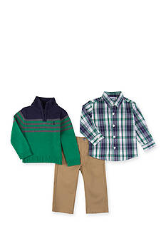 IZOD Green and Blue Striped Sweater Set Boys 4-7