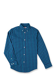 IZOD Gingham Blue Woven Shirt Boys 8-20