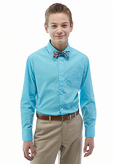 Izod 2-Piece Long Sleeve Button Front Shirt with Bowtie Boys 8-20