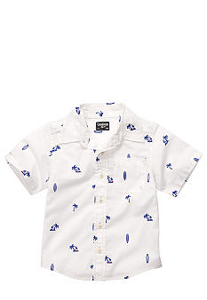 OshKosh B'gosh Palm Tree and Surf Board Button Down Shirt Boys 4-7