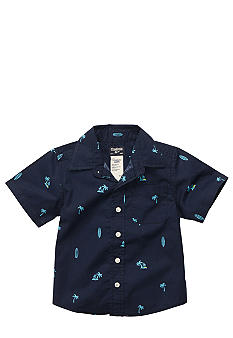 OshKosh B'gosh Navy Palm Tree and Surf Board Button Down Boys 4-7
