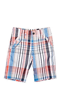 Lee Dungaree Flat Front Plaid Bermuda Short Boys 4-7