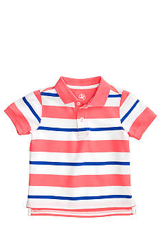 J Khaki Short Sleeved Stripe Polo Boys 4-7