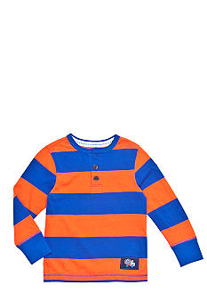J Khaki Striped Henley Tee Boys 4-7