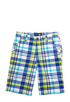 J Khaki Flat Front Plaid Short Boys 8-20