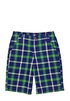 J Khaki Flat Front Plaid Shorts Boys 8-20