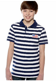 J Khaki Striped Polo Boys 8-20