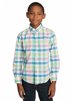 J Khaki™ Long Sleeve Woven Plaid Shirt Boys 8-20