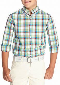 J. Khaki Plaid Woven Shirt Boys 8-20