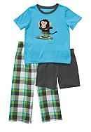 Carter's® Plaid Monkey 3 Piece Pajama Set Boys 4-7