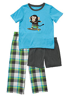 Carter's Plaid Monkey 3 Piece Pajama Set Boys 4-7