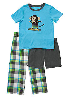 Carter's Plaid Monkey 3 Piece Pajama Set Boys 8-12