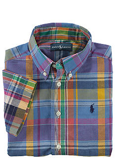 Ralph Lauren Childrenswear Preppy Short Sleeved Madras Button Down Boys 4-7