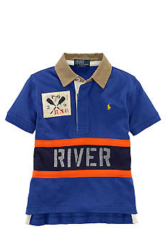 Ralph Lauren Childrenswear Sporty Blue Graphic Polo Boys 4-7