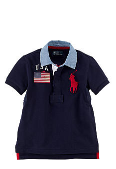 Ralph Lauren Childrenswear USA Contrast Collar Rugby Boys 4-7