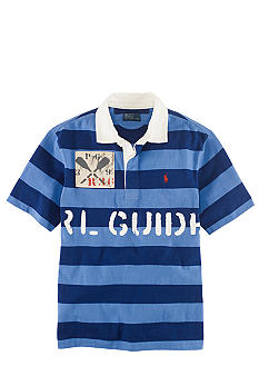 Ralph Lauren Childrenswear Blue Short Sleeved Striped Polo Boys 8-20