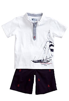 Nannette Sailboat Shiftly Embroidered Set Boys 4-7