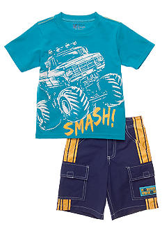 Nannette Glow in the Dark Monster Truck 2-piece Set Boys 4-7