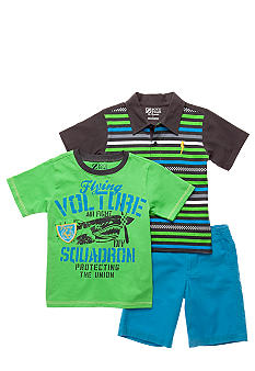 Nannette Striped Polo and Screen Print Tee 3-piece Short Set Boys 4-7