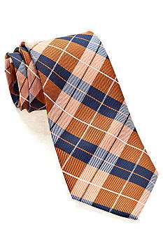 J Khaki Orange Plaid Tie Boys 4-20