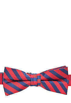 J Khaki Red Stripe Bowtie