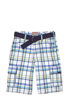 Red Camel Boys Plaid Cargo Short with Belt Boys 8-20
