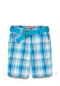 Red Camel Flat Front Plaid Cargo Short Boys 8-20