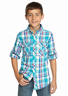 Red Camel Long Sleeve Plaid Woven Shirt Boys 8-20
