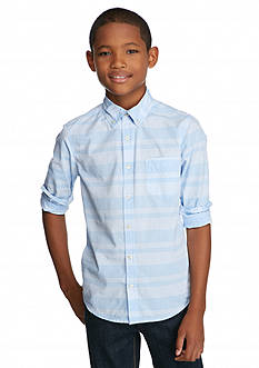 Red Camel Long Sleeve Striped Woven Shirt Boys 8-20