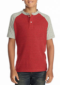 Red Camel Colorblock Henley Shirt Boys 8-20