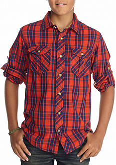 Red Camel Plaid Button Front Shirt Boys 8-20